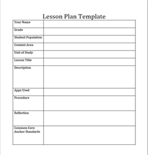 generic lesson plan template lesson plan template pdf
