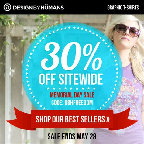 design a shirt coupon memorial day sale with 30 off design by humans graphic t