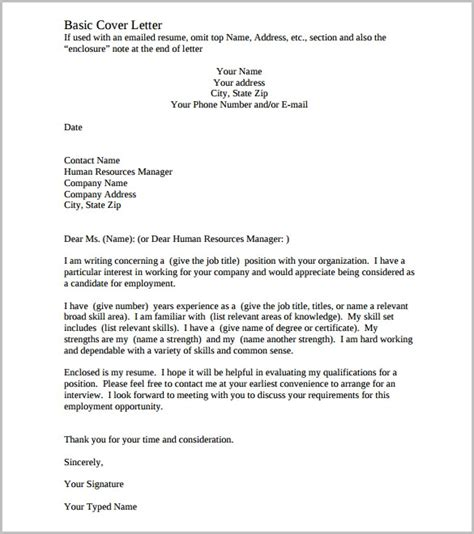 cover letter to a company letter template