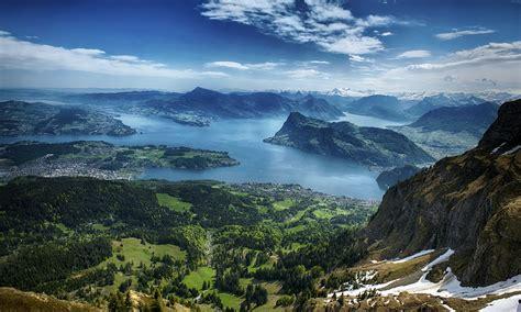 scenery switzerland lake mountains sky lake lucerne nature