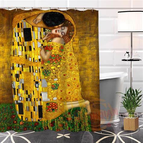 environmentally friendly shower curtain eco friendly custom unique klimt famous paintings fabric