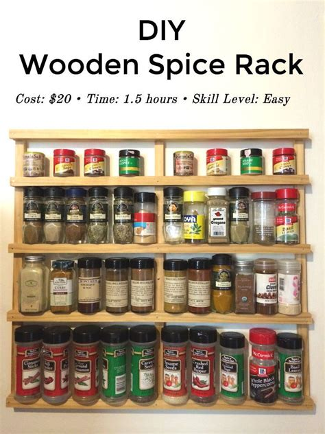 diy spice rack wood easy diy wooden spice rack you don t need any special