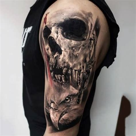 half sleeve skull tattoos half sleeve amazing realistic skull with eagle