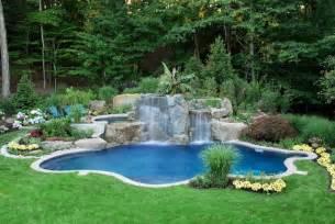 Swimming Pool In Backyard Backyard Swimming Pool Waterfall Design Bergen County Nj Contemporary Pool New