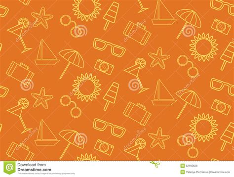 pattern background icon pattern with summer icons on an orange background stock