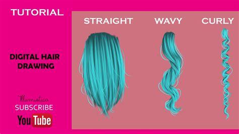 draw straight wavy  curly hair digitaly