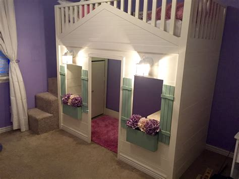 lights loft bed cottage loft bed playhouse with stairs lights and desk