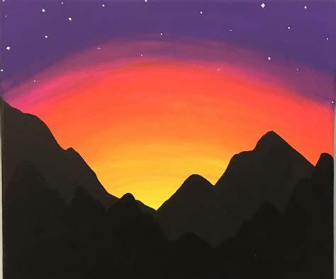 paint  mountain sunset  beginners  steps