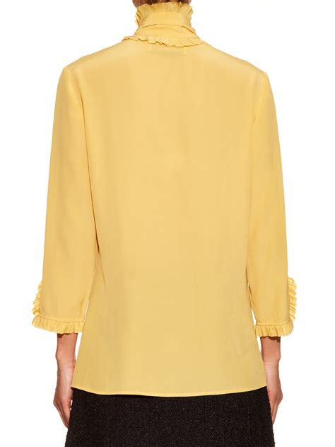 Ff Blouse Gucci 1 gucci high neck ruffled silk crepe blouse in yellow lyst