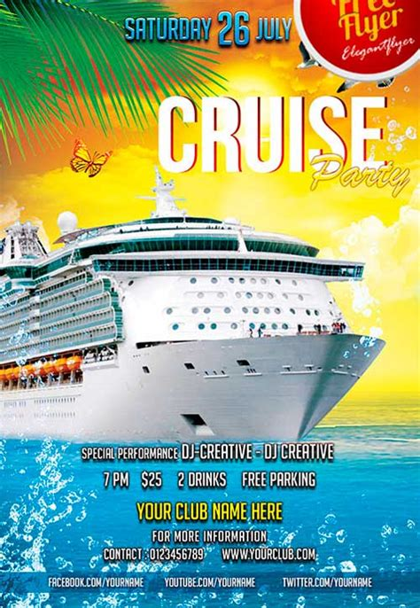 Cruise Flyer Template Free Download Free Cruise Party Psd Flyer Template Freepsdflyer