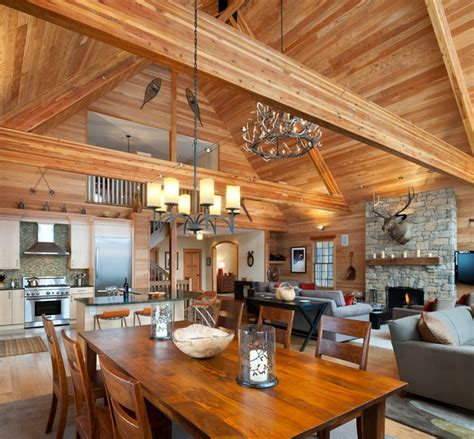 rustic open floor plans elk mountain house