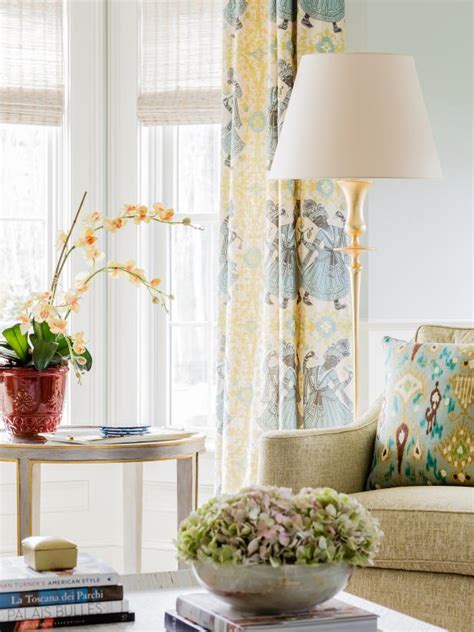 yellow patterned drapes photo page hgtv