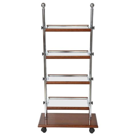 Folding Etagere chrome and oak wood folding etagere with glass shelves 1940 at 1stdibs