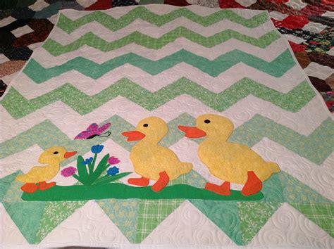 chevron baby quilt with applique