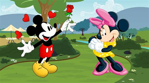 mickey  minnie mouse cartoon red rose  minnie love couple wallpaper hd