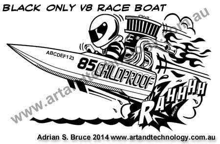 drawing of boat race car caricatures logos cartoons and business graphics