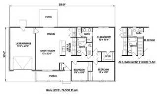 House Plans For 1200 Square Feet Traditional Style House Plan 3 Beds 2 Baths 1200 Sq Ft