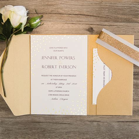 Wedding Pocket Invitations by Simple Gold Glitter Dots Pocket Wedding Invitations