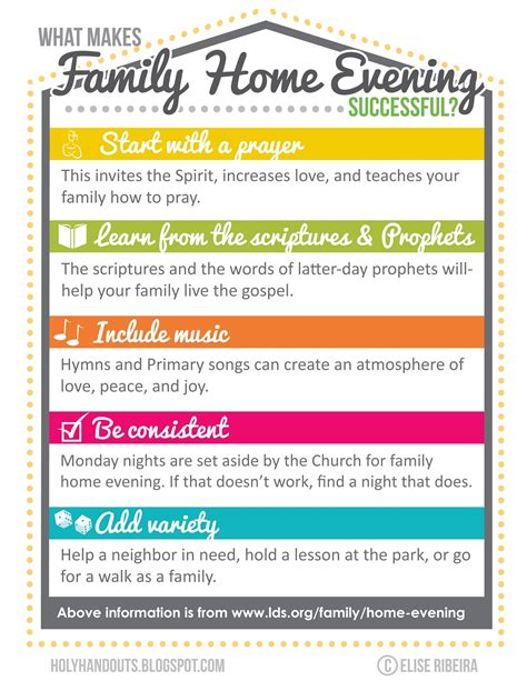 holy handouts family home evening agenda