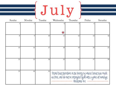 the blogging pastors wife printable july 2012 calendar