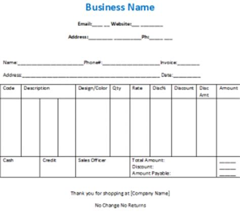 Sample Bill for Clothing Shop in Excel and Word Free Download