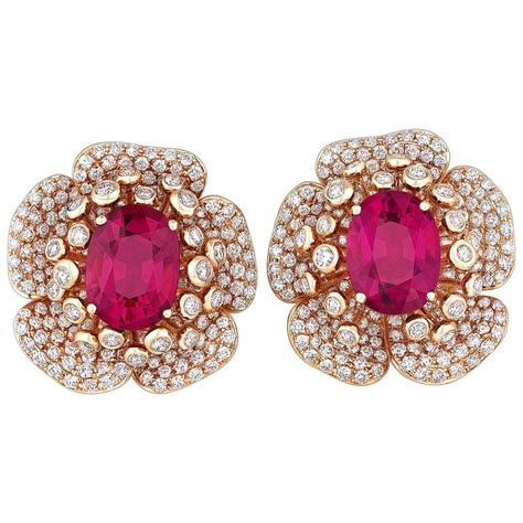 Flower Petals Earrings Black No 02a35cr rubellite gold flower petal earrings for sale at