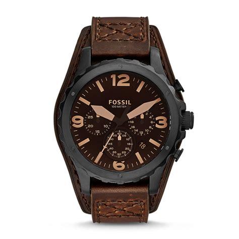 Jam Tangan Fossil Jr1511 Leather montre nate chronographe en cuir marron fossil