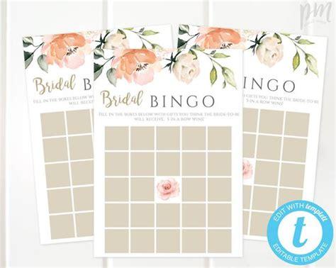 peach floral bridal shower bingo game template bridal