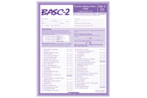 Behavior Assessment System For Children Second Edition Basc 3 Report Template