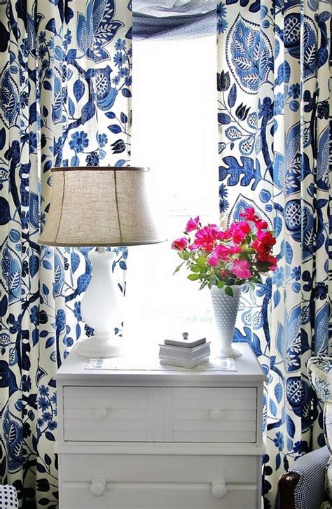 blue and white print curtains color crush blue white