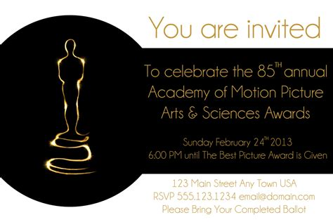 academy awards printable themed card template oscar invite hmh designs