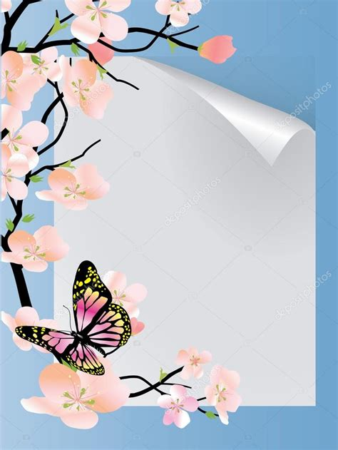 Hermosa Photo Frame Minimalis5r Blue vector frame with beautiful flowers and butterfly stock