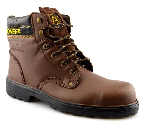 mens steel toe cap work boots mens new leather safety steel toe cap lace up ankle work