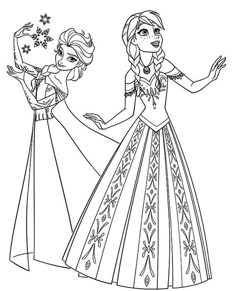 Queen Elsa And Princess Anna Coloring Pages | free coloring pages of elsa olaf anna