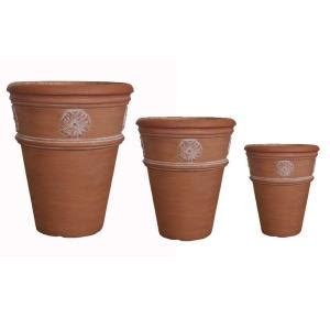 mpg white washed terracotta composite flower pots set of