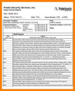 Security Guard Daily Activity Report Sle Charlotte Clergy Coalition Security Guard Schedule Template