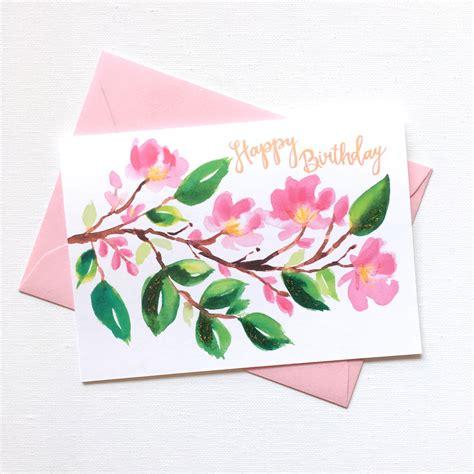 Card Painted painterly cherry blossom birthday card custom invitations unique wedding invitations