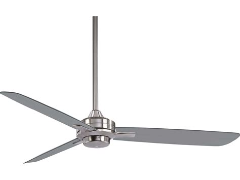 silver blade ceiling fan minka aire rudolph brushed nickel with silver blades 52
