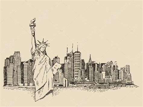 imagenes vintage nueva york mano dibuja la ciudad de nueva york archivo im 225 genes
