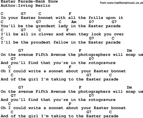 printable lyrics to easter parade country music easter parade hank snow lyrics and chords