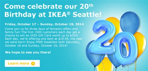 Ikea Gift Cards At Safeway - ikea 20th anniversary celebration at ikea seattle october 17 19