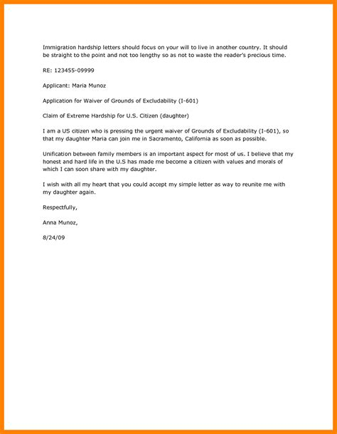 Hardship Letter Immigration Sle 5 Exle Of Hardship Letter For Immigration Emt Resume