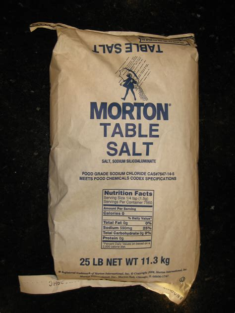 what is table salt made of us made morton brand 25 pound bag of non iodized table