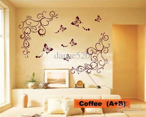 Peacock Wall Sticker butterfly vine flower wall art stickers decals wall paster