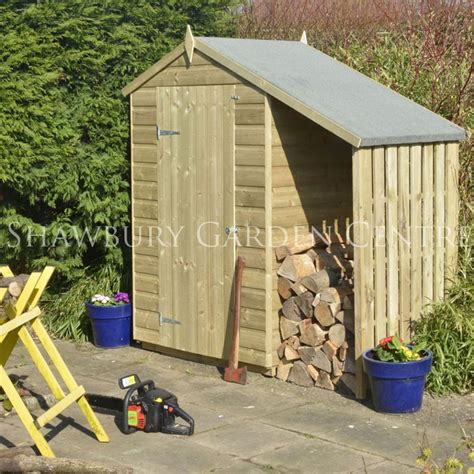 Shed With Wood Store by Rowlinson 4 X 3ft Oxford Shed With Lean To Log Store