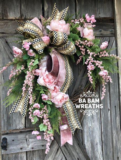 summer wreath pink wreath wreath  front door