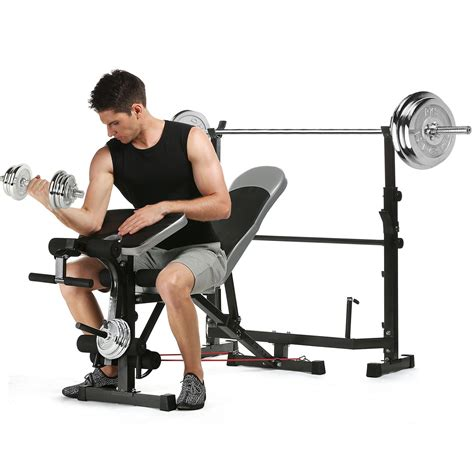 workout bench set ancheer olympic weight bench multi function workout bench set with preacher curl pad
