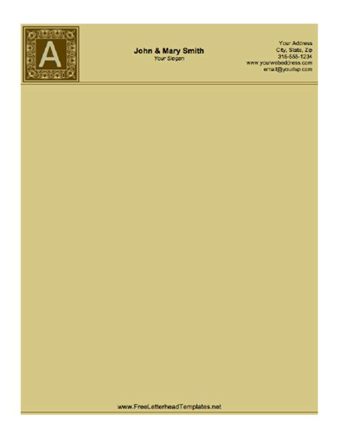 stationery template monogrammed letterhead brown