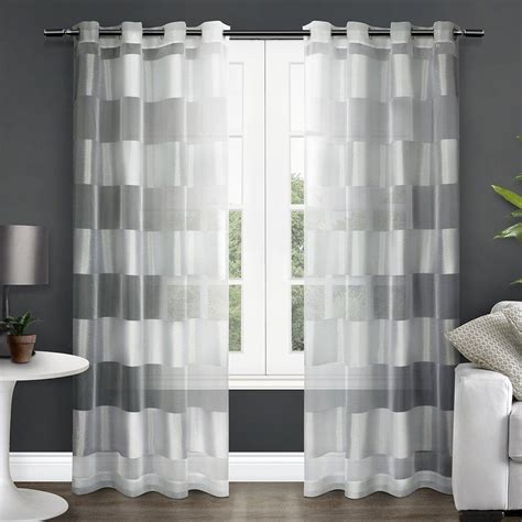 striped sheer curtain panels com exclusive home navarro striped sheer grommet