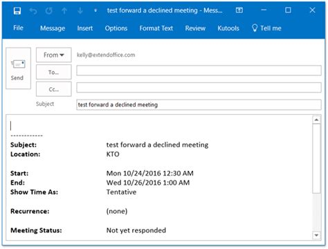 Exle Invitation Meeting Email How To Forward Meeting As Email Without Notifying Meeting Organizer In Outlook
